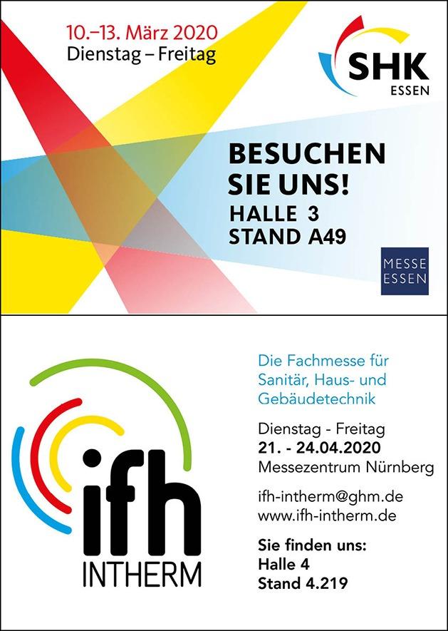 Besuchen Sie uns auf der SHK Essen und der IFH Nürnberg